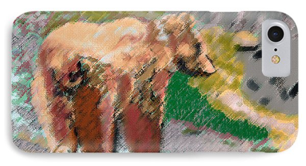 081914 Pastel Painting Grizzly Bear IPhone Case by Garland Oldham