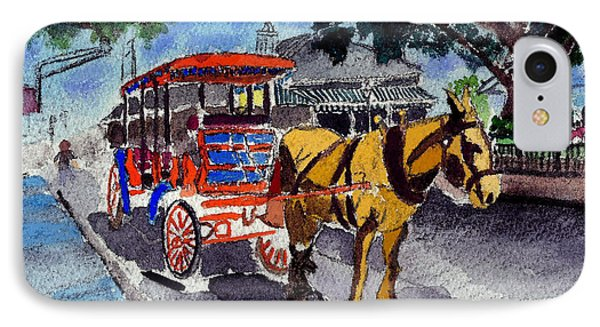 090514 New Orleans Carriages Watercolor IPhone Case by Garland Oldham