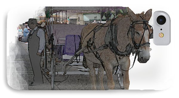 091614 Color Pencil Mule And Carriage IPhone Case by Garland Oldham