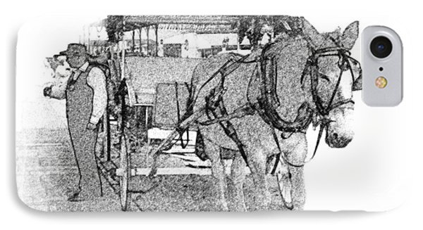 091614 Pen Drawing Carriages French Quarter IPhone Case by Garland Oldham