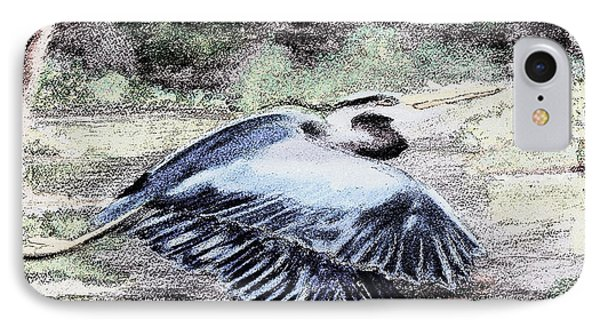 091714 Graphic Pen Blue Heron IPhone Case by Garland Oldham