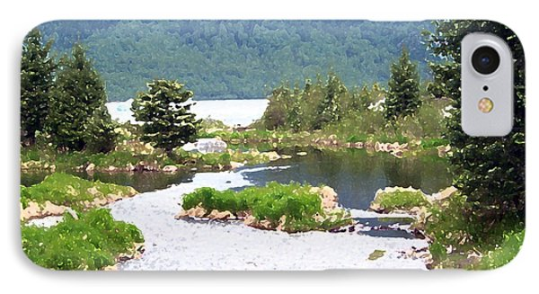 092014 Water Color Alaskan Wilderness IPhone Case by Garland Oldham
