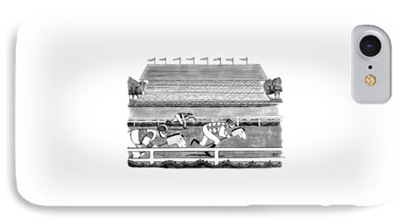 Men Race On Toy Horses IPhone Case by Benjamin Schwartz