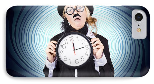 Nutty Professor With Clock. Crazy Science Time IPhone Case by Jorgo Photography - Wall Art Gallery