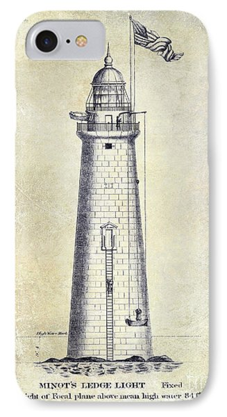 1852 Minot's Ledge Lighthouse IPhone Case by Jon Neidert