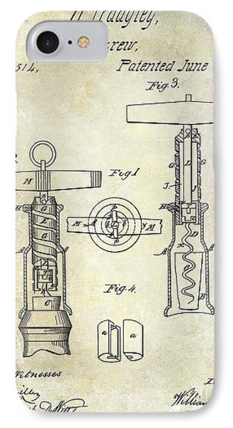 1862 Corkscrew Patent Drawing IPhone Case by Jon Neidert