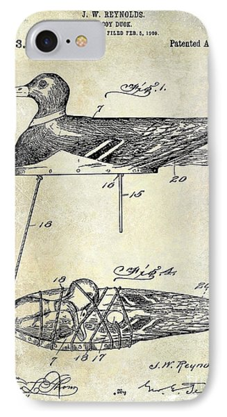 1910 Duck Decoy Patent Drawing IPhone Case