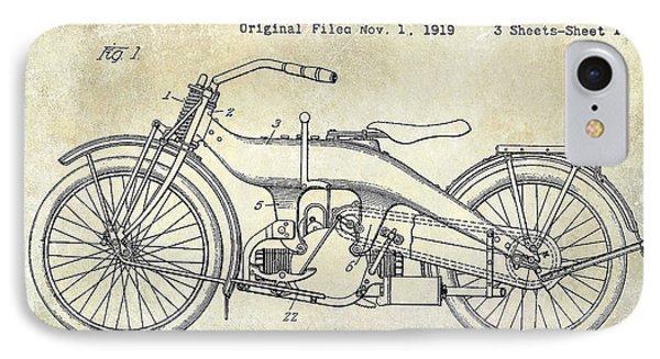 1924 Harley Davidson Motorcycle Patent  IPhone Case by Jon Neidert