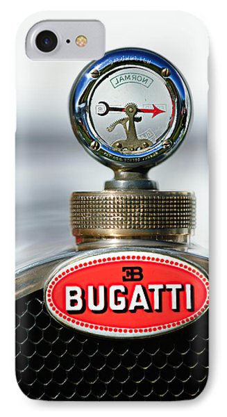 1928 Bugatti Type 44 Cabriolet Hood Ornament - Emblem IPhone Case by Jill Reger