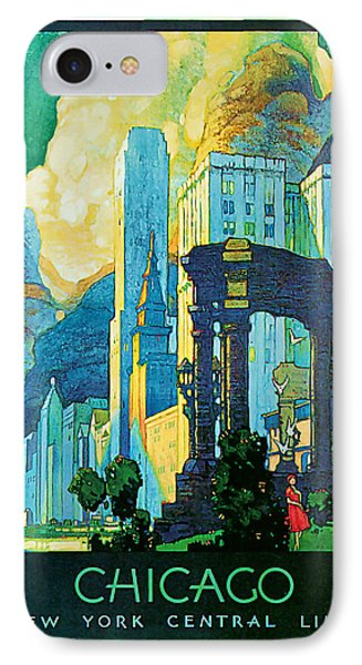 IPhone Case featuring the mixed media 1929 Chicago - Vintage Travel Art by Presented By American Classic Art