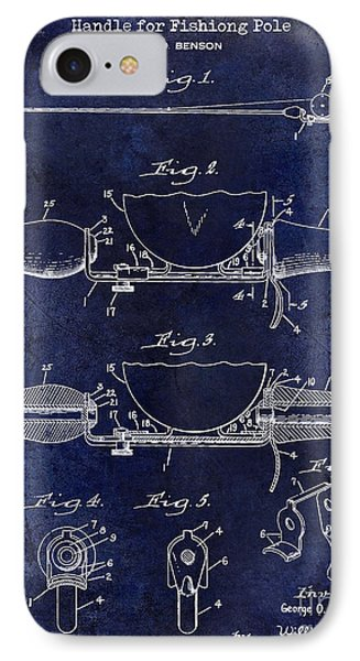 1940 Handle For Fishing Pole Patent Drawing Blue IPhone Case