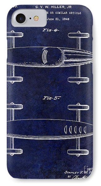 1940 Toy Car Patent Drawing Blue IPhone Case by Jon Neidert