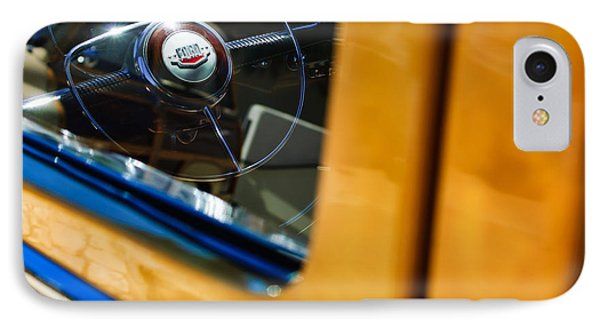 1950 Ford Custom Deluxe Woodie Station Wagon Steering Wheel Emblem IPhone Case by Jill Reger