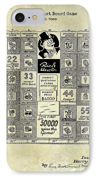 1950 Stock Market Game Patent Drawing Blue IPhone Case by Jon Neidert