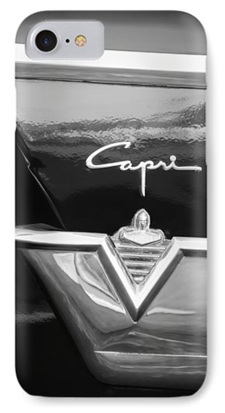1954 Lincoln Capri Emblem -1177bw IPhone Case by Jill Reger