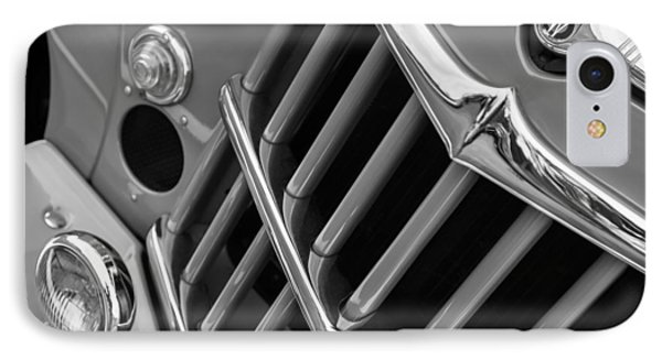 1957 Willys Jeep 6-226 Wagon Grille Emblem IPhone Case by Jill Reger