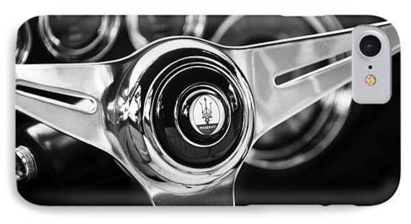 1958 Maserati Steering Wheel Emblem IPhone Case by Jill Reger