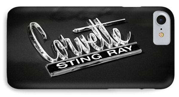 1966 Chevrolet Corvette Coupe Emblem  Bw Phone Case by Rich Franco
