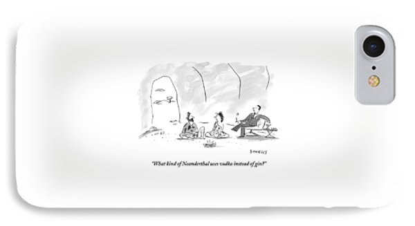 A Caveman And Cavewoman Sit On The Floor IPhone Case by Liza Donnelly