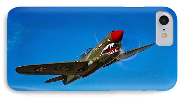 A Curtiss P-40e Warhawk In Flight IPhone Case by Scott Germain