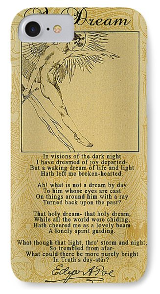 A Dream By Edgar Allan Poe IPhone Case by Scarebaby Design