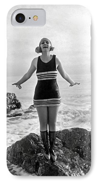 A Flapper In Her Bathing Suit IPhone Case by Underwood Archives