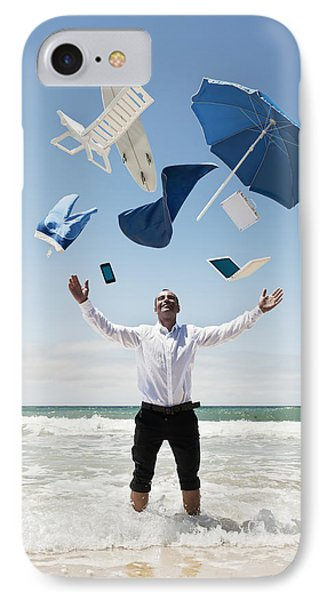 A Man Stands In The Ocean With Items Phone Case by Ben Welsh