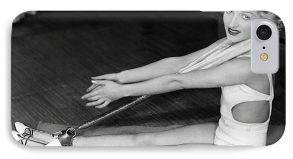 A Young Woman Exercising IPhone Case by Underwood Archives