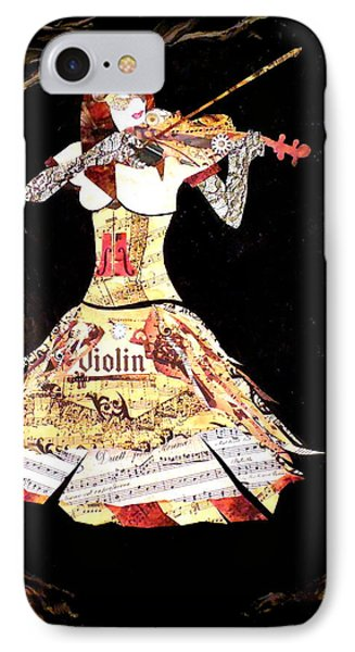 Steampunk Girl Abstract Painting Girl With Violin Fashion Collage Painting IPhone Case