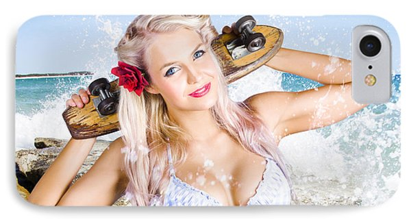 Active Sexy Summer Beach Babe With Skateboard IPhone Case by Jorgo Photography - Wall Art Gallery