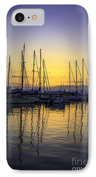 Aegina Harbour Sunset IPhone Case by Paul Cowan