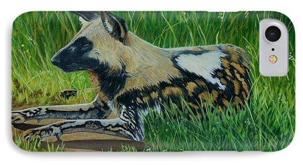 African Wild Dog IPhone Case by Caroline Street