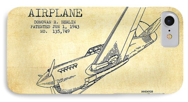 Airplane Patent Drawing From 1943-vintage IPhone 7 Case