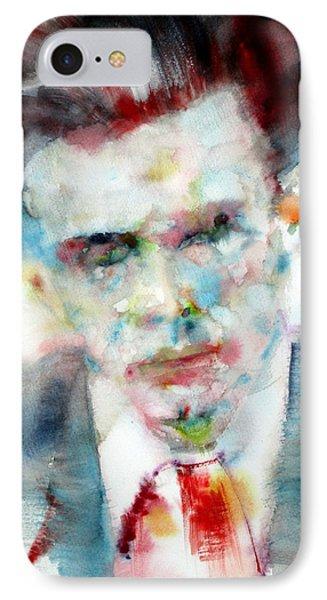 Aldous Huxley - Watercolor Portrait IPhone Case by Fabrizio Cassetta