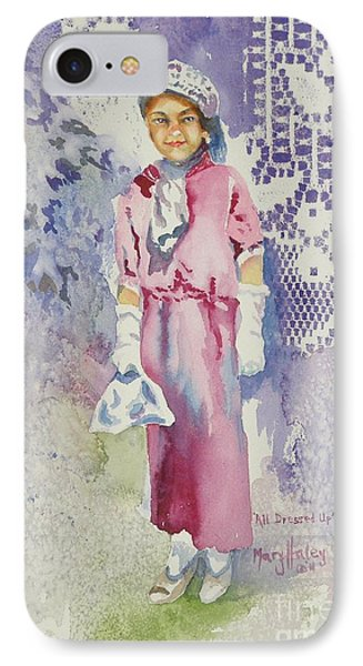 IPhone Case featuring the painting All Dressed Up by Mary Haley-Rocks