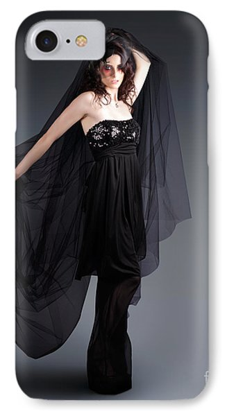 Alternative Fashion Model With Black Lace Dress IPhone Case by Jorgo Photography - Wall Art Gallery