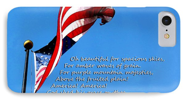 America The Beautiful - Us Flag By Sharon Cummings Song Lyrics IPhone Case by Sharon Cummings