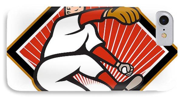 American Baseball Pitcher Throwing Ball Cartoon Phone Case by Aloysius Patrimonio