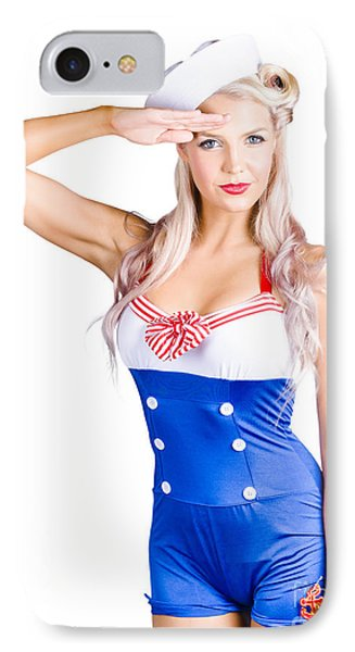American Pinup Girl Sailor Saluting A Yes Sir IPhone Case by Jorgo Photography - Wall Art Gallery