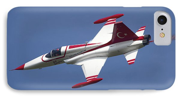 An F-5 Jet Of The Turkish Stars IPhone Case by Timm Ziegenthaler