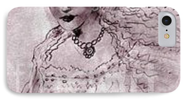 IPhone Case featuring the drawing Angela by Iris Gelbart