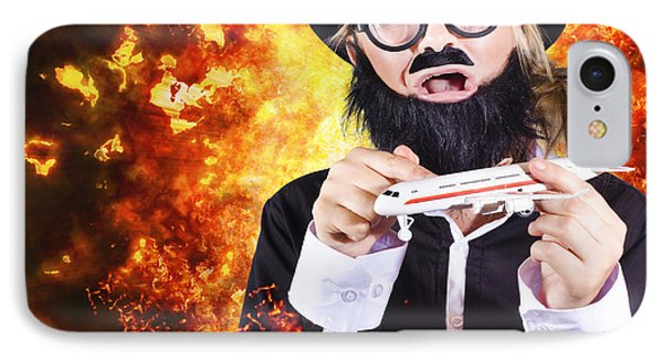 Angry Business Terrorist Hijacking Model Plane IPhone Case by Jorgo Photography - Wall Art Gallery