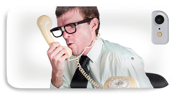 Angry Businessman Yelling Down Phone IPhone Case by Jorgo Photography - Wall Art Gallery