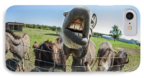 Animal Personalities Silly Talking Donkey With Whiskers Phone Case by Jani Bryson