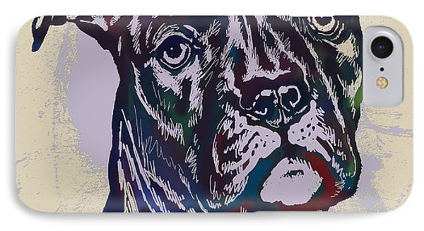 Animal Pop Art Etching Poster - Dog 13 IPhone Case by Kim Wang