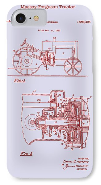 Antique Massey-ferguson Tractor Patent 1935 IPhone Case by Mountain Dreams