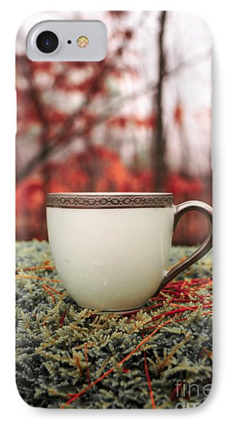 Antique Teacup In The Woods IPhone Case by Edward Fielding
