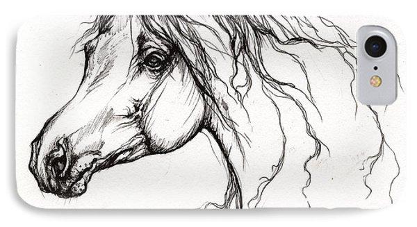 Arabian Horse Drawing 37 Phone Case by Angel  Tarantella