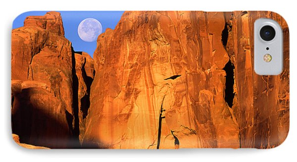 Arches Moonset IPhone Case by Inge Johnsson