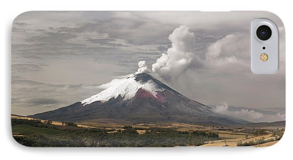 Ash Plume Rising From Cotopaxi Volcano IPhone Case by Dr Morley Read